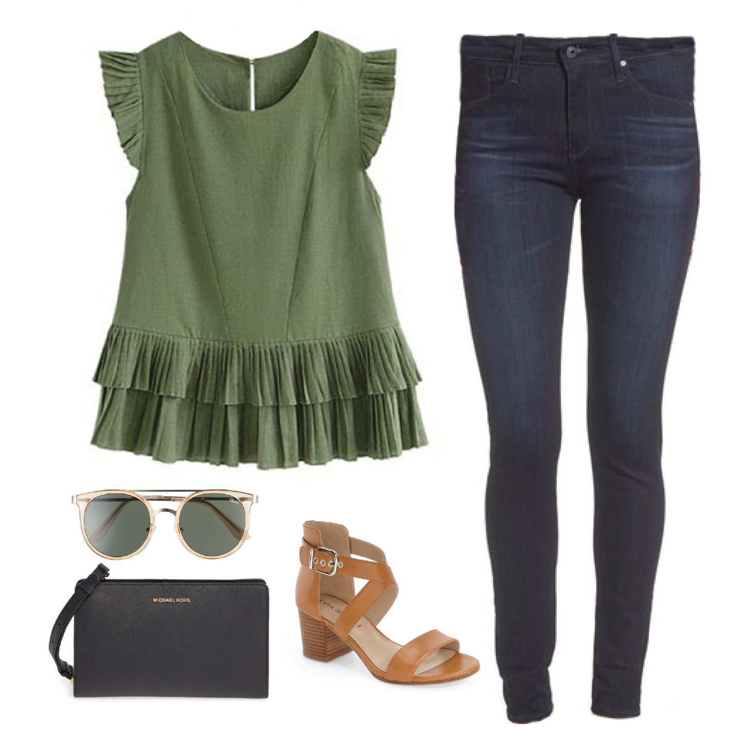 fall-outfit-goodnight-macaroon-green-olive-ruffle-top