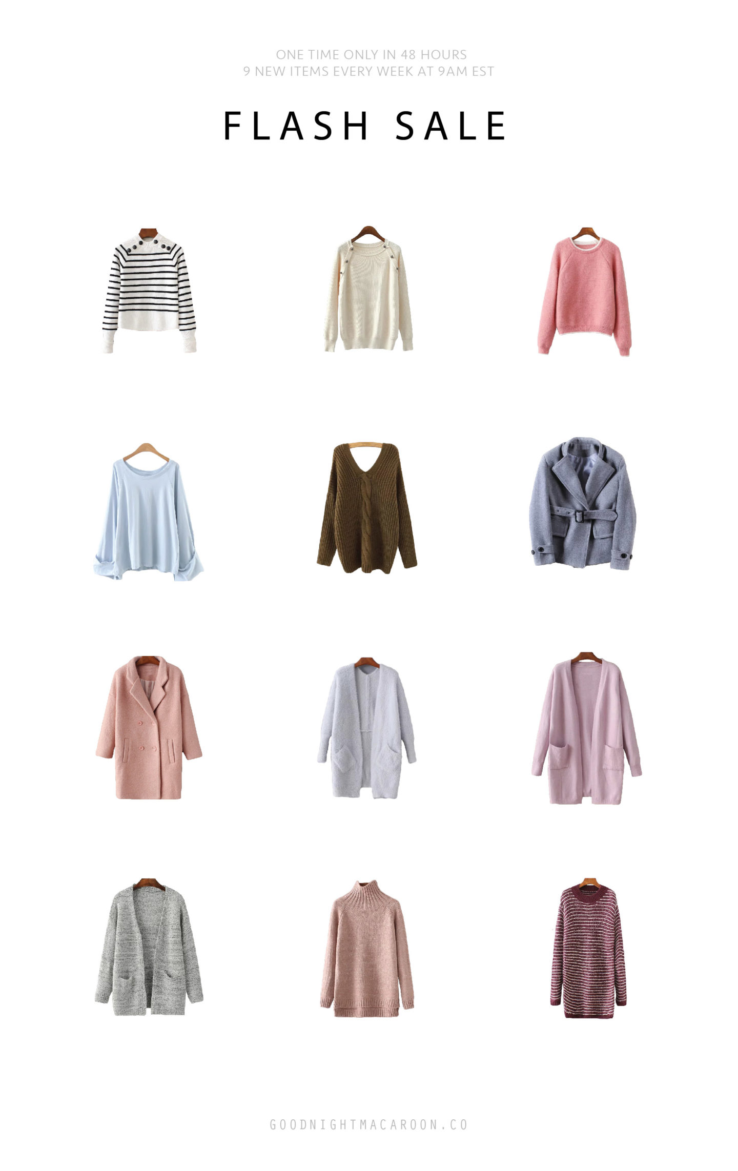 goodnight-macaroon-flash-sale-newsletter 50% off on new arrivals, pink sweater, cardigan, coat, wrap coat, deal, promp