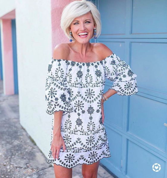 995d127adbc0b1 Brittany is wearing the Embroidered Off Shoulder Dress